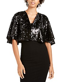 Juniors' Sequined Capelet
