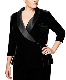 Plus Size Velvet & Satin Wrap Jacket