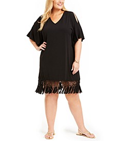 Plus Size Island Macrame Fringe Tunic Cover-Up