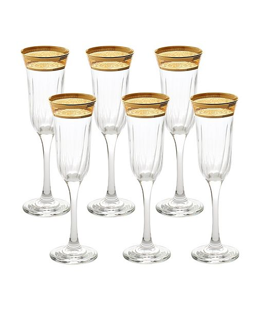Lorren Home Trends Flute Melania Collection Amber - Set of 6