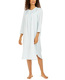 Brushed Back Satin Embroidered Nightgown