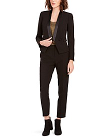 Tuxedo Satin-Trim Jacket, Chiffon Foil Top & Satin-Stripe Pants, Created For Macy's