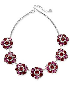 """Silver-Tone Crystal & Stone Frontal Necklace, 17"""" + 3"""" extender, Created For Macy's"""