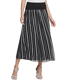 DKNY Striped Midi Skirt