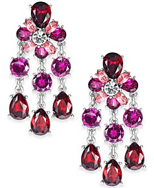 Silver-Tone Red & Pink Crystal Chandelier Earrings, Created For Macy's