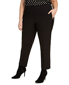 Trendy Plus Size Tuxedo Satin-Stripe Straight-Leg Pants, Created For Macy's