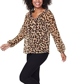 Cat-Print Metallic-Threaded Top