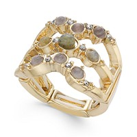 Deals on INC Gold-Tone Multi-Stone Triple-Row Stretch Ring