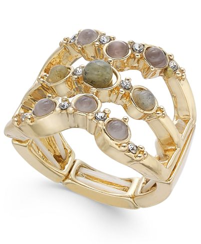 INC International Concepts Gold-Tone Multi-Stone Triple-Row Stretch Ring