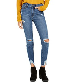 Juniors' Ripped Raw-Edge Skinny Ankle Jeans