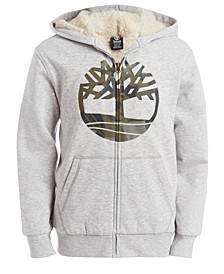 Big Boys Camo Tree Light Gray Heathered Fleece-Lined Logo Hoodie
