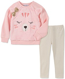 Baby Girls 2-Pc. Faux Fur Bear Sweatshirt & Printed Leggings Set