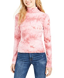Juniors' Tie-Dye Mock Neck Top