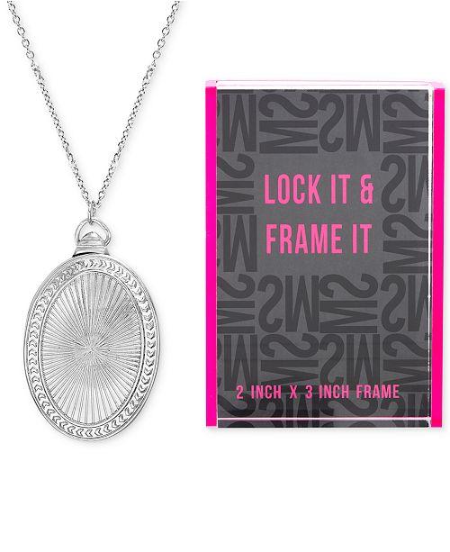 "Steve Madden Silver-Tone Oval Locket Pendant Necklace & Photo Frame Gift Set, 25"" + 3"" extender"