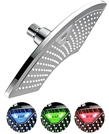 AquaFan 12-inch Rainfall LED Shower Head with Color-Changing LED/LCD Temperature Display