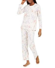 Women's Floral-Print Brushed Waffle Pajama Set