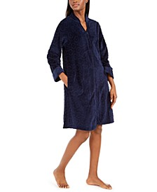 Jacquard Cuddle Fleece Short Zipper Robe