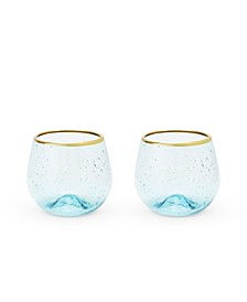 Seaside Aqua Bubble Stemless Wine Glass Set of 2