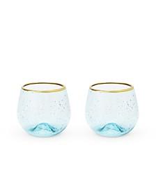 Twine Seaside Aqua Bubble Stemless Wine Glass Set