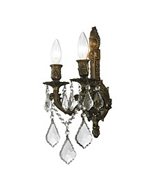 Versailles 2-Light Antique Bronze Finish Crystal Wall Sconce Light
