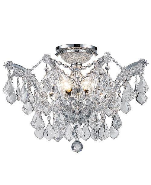 Worldwide Lighting Maria Theresa 6-Light Chrome Finish and Clear Crystal Semi-Flush Mount Ceiling Light