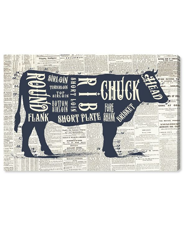 "Oliver Gal Angus Beef Butcher Cuts Chart Canvas Art, 36"" x 24"""