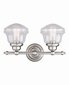 Huntley Satin Nickel 2 Light Farmhouse Bathroom Vanity Wall Light Clear Schoolhouse Glass