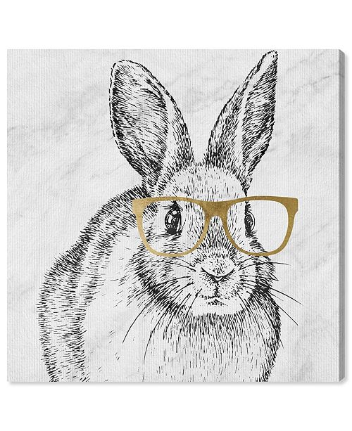 """Oliver Gal Bunny and Gold Glasses Canvas Art, 12"""" x 12"""""""
