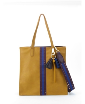 The like dreams studded racer striped tote bag is made a durable vegan leather and polyester lining. This bag also features racer tripe that is adorned with gold-tone studs lined along the edges, a matching detachable strap, and a tassel key chain.