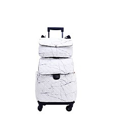 Like Dreams Quilted Luggage Bag with Pull Out Handle and Roller Wheels
