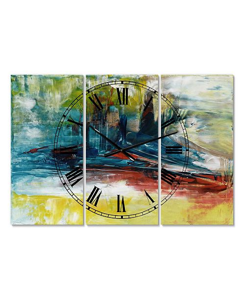 "Designart the Last Frontier Oversized Modern 3 Panels Wall Clock - 38"" x 38"" x 1"""