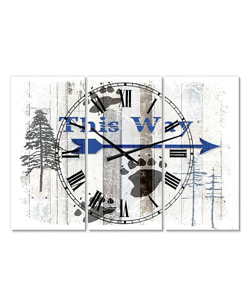 """Designart the Blue Moose - This Way II Large Cottage 3 Panels Wall Clock - 23"""" x 23"""" x 1"""""""