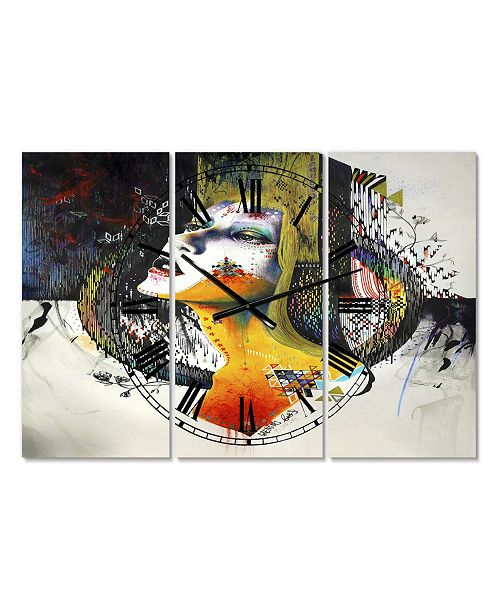"Designart Between Hope and Despair Large Modern 3 Panels Wall Clock - 23"" x 23"" x 1"""