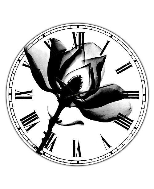 "Designart Magnolia X-Ray Oversized Cottage Wall Clock - 36"" x 28"" x 1"""