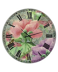 """Pink Peonies Large Cottage Wall Clock - 36"""" x 28"""" x 1"""""""