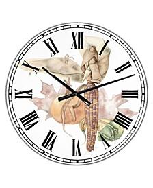 "Autumn Medley Large Farmhouse Wall Clock - 36"" x 28"" x 1"""