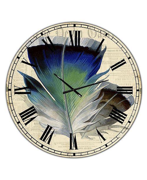 """Designart Colorful Elegant Feather I Oversized Cottage Wall Clock - 36"""" x 28"""" x 1"""""""