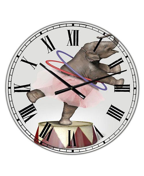 "Designart Circus Elephant Oversized Modern Wall Clock - 36"" x 28"" x 1"""