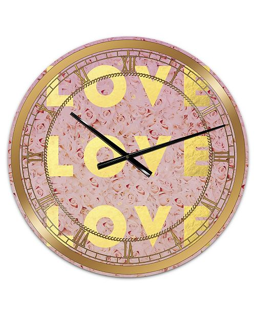 "Designart Love, Love, Love Oversized Glam Wall Clock - 36"" x 28"" x 1"""