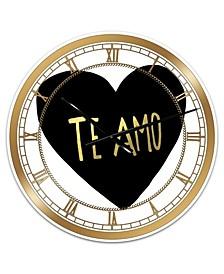 """Te Amo Large Glam Wall Clock - 36"""" x 28"""" x 1"""""""