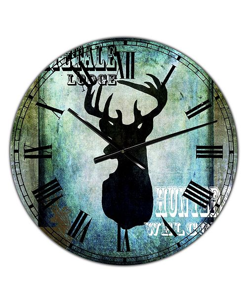 "Designart Lodge Whitetale Lodge Oversized Cottage Wall Clock - 36"" x 28"" x 1"""