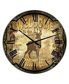 "Welcome Lodge Deer Large Cottage Wall Clock - 36"" x 28"" x 1"""
