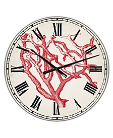 "Red Coral 2 Large Nautical & Coastal Wall Clock - 36"" x 28"" x 1"""