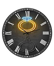 "Diamond Ring Large Modern Wall Clock - 23"" x 23"" x 1"""