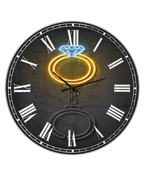 "Designart Diamond Ring Large Modern Wall Clock - 23"" x 23"" x 1"""