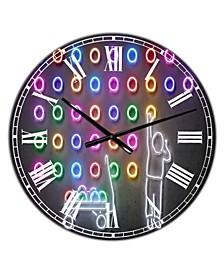 "Boy Collecting Neon Circles Oversized Modern Wall Clock - 38"" x 38"" x 1"""
