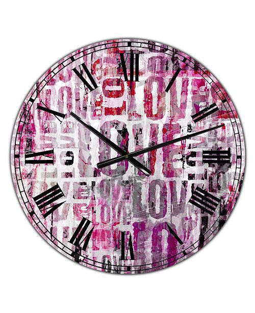"Designart Grunge Love Square Oversized Cottage Wall Clock - 38"" x 38"" x 1"""