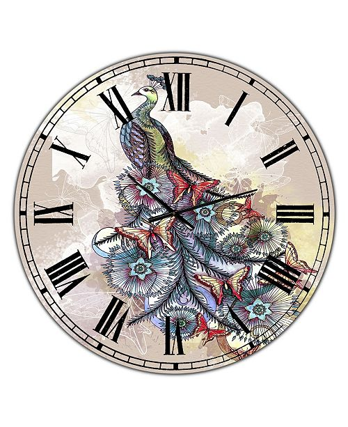 "Designart Butterfly Peacock Oversized Cottage Wall Clock - 23"" x 23"" x 1"""