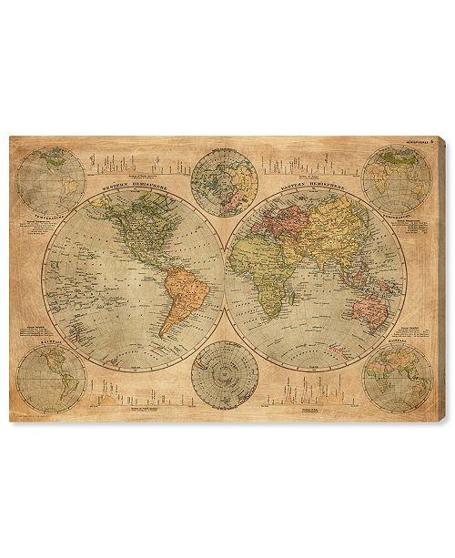 "Oliver Gal Hemispheres Map 1891 Canvas Art, 24"" x 16"""