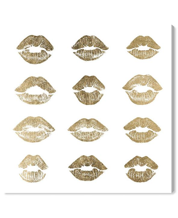 "Oliver Gal 24K Kisses Canvas Art, 12"" x 12"""